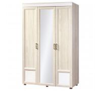 Шкаф «Йорк»  3 -х дверный с зеркалом и глянцевыми вставками № 01.3 (ясень анкор)