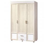 Шкаф «Йорк» 3-х дверный с глянцевыми вставками и 2 ящиками № 01.13 (ясень анкор)