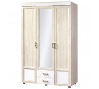 Шкаф Йорк 3-дверный с зеркалом и 2 ящиками № 01.12 (ясень анкор)