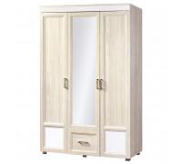 Шкаф «Йорк» 3-х дверный с зеркалом с глянцевыми вставками № 01.10 (ясень анкор)