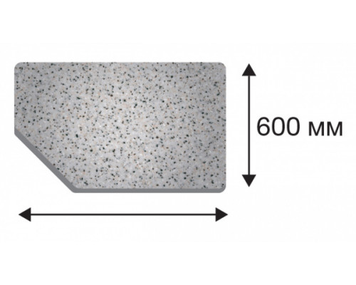 Крышка стола в размер торцевая левая от 400 до 1500
