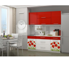 Кухня МДФ 1800 с фотопечатью Маки, белые столы