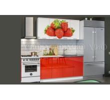 Кухня МДФ 1600 с фотопечатью Клубника