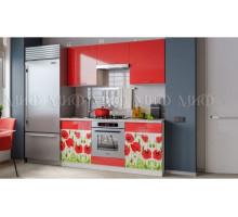 Кухня МДФ 1600 с фотопечатью Маки, белые столы