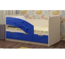 Детская кровать Дельфин-6 МДФ, 80х160, темно-синий