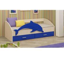 Детская кровать Дельфин-4 МДФ синий, 80х160
