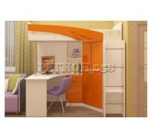 Кровать-чердак Бемби МДФ (фасад 3D) с рабочей зоной