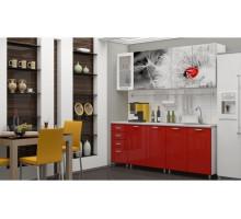 Кухня МДФ с фотопечатью Одуванчик со стеклостворкой 2,0 м